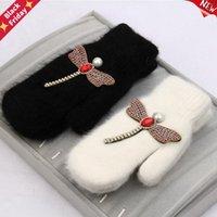 النساء قفازات الشتاء كريستال اليعسوب الفراء العلامة التجارية للإناث مزدوجة الدافئة إصبع كامل فنجر هدايا عيد الميلاد خمسة أصابع