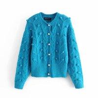 Случайные женщина синий пушистый шар вязание крючком вязаный кардиган 2021 весенние мода женские мягкие жемчужные трикотажные девушки сладкие теплые пальто женские свитера