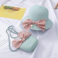 Gorras sombreros de churs verano sombrero de paja bebé niña bolsa de matcha mochila de playa maceta