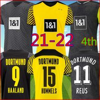 Borussia Dortmund 22 22 Aware Soccer Jersey 2021 2022 탑 축구 셔츠 Haaland Reus Neongelb Bellingham Sancho Hummels Brandt Kits 남성 + 아이들 세트 Unifomrs 4 번째 4