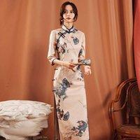 민족 의류 전통 중국 여성 꽃 cheongsam 빈티지 인쇄 분할 저녁 파티 드레스 섹시한 숙녀 가운 가운 우아한 qipao 가운