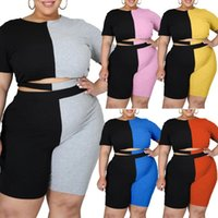 Women's Tracksuits Plus Size Women Clothes Casual Ribbing Color Matching Tracksuit Loungewear Two Piece Set Body Suit Tops And Shorts Wholes