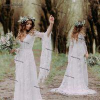 Flare Kol Tığ Dantel Gelinlik Pamuk Hippi Bohemian Zarif Gelinlikler Romantik Moda Vestido De Noivas