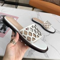 2021 top designer women slippers slides sandals summer fashion ladies hollow slide slipper sandal sexy leather flat heel shoes