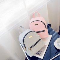 Backpack PU Lether Shoulders Small Soild Colour Mini School Bag Female Bookbag Mochila Feminina Women Mochilas