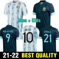 Argentinien Fußballtrikots Männer Kinder Uniformen Dybala Maradona Messi Football Jersey Icardi di Maria Kun Aguero L.martinez Lo Celso Camiseta de Argentinien 2021 2022