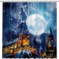 Shower Curtains Magic Castle Wizard School By Ho Me Lili Curtain Night Full Moon Witch Halloween Decor Kids Bathroom Sets With Hooks