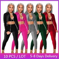 Women's Two Piece Pants Wholesale Items Winter Velvet Sexy Tracksuit Women Clubwear Lace Up Crop Top And Set Jogger 2 Sets Womens Outfits