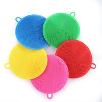 Silicone Dish Bowl Cleaning Brush Multifunction 5 colors Scouring Pad Pot Pan Wash Brushes Cleaner Kitchen Washing Tool ZWL312