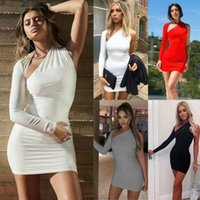 Casual Dresses Women One Shoulder Slim Fit Lady Bodycon Bandage Sleeve Tops Long Tank Prom Party Evening Club Short Mini Pencil Dress