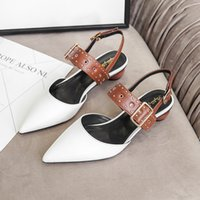 Spring and summer new low heel fashion white pointed shallow mouth single shoe rivet back space color matching round women's shoes Outlet black friday