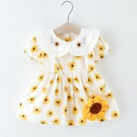 Girl's Dresses Sunflower Printed Dress Baby Girls Flower Christening Gowns Born Babies Baptism Clothes Princess Birthday