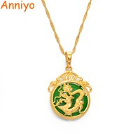 Anniyo Green Stone Dragon Pendant Necklaces Women Amulet Chinese Culture Style Elements Necklace Jewelry New Style #072204 A0607