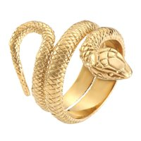 Gold Silver Snake Ring 316L Stainless Steel Fashion Jewelry Manba Spirit Cobra Serpent Ring Size 6-13