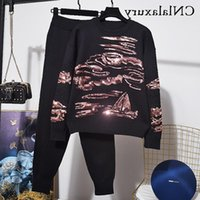 Women's Two Piece Pants Set 2 Pieces Women Sequins Knitted Tracksuit O Neck Sweater + Carrot Jogging Pullover Outfits Outwear