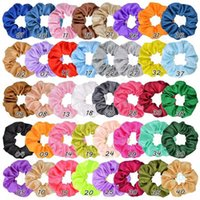 40 Styles Women Solid Scrunchies Satin Silky Scrunch Hairband Hair Band Ponytail Holder Stretchy Hair Elastic Rope Accessories for Girls Xmas Hairband C121008