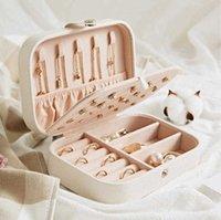 Caixa de armazenamento de jóias de couro pu Caixa portátil de caixa de jóias de jóias brincos Caixas de armazenamento de anel de colar