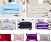 20*26 inch Silk Satin Pillow Case 12 Solid Colors Cooling Envelope Pillowcase Ice Silks Skin-friendly Pillowslip Bedding Supplies