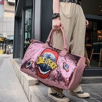 Sequin letter travel bag fashion sequin gym bags short-distance portable sports bag large-capacity luggage bags women