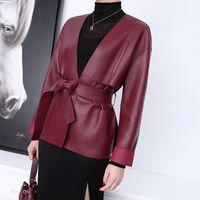 Zhi2021 Spring and Autumn Deep Vneck Hefeng Belt Bow Genuine Leather Sheepskin Jacket 30BJ514