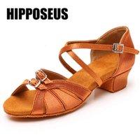 Танцы Shoesheipposeus Дети Латинские танцевальные Обувь Танго Девушки Бальные Женщины Современный Низкий Хак Мягкий Белый