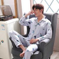 Men's Cotton Pajama Set pijama hombre invierno Autumn Winter Man Pajamas Simple vetement homme luxe Luxury Men Clothes 211019