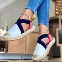 Sandals Summer Striped Platform Wedges Shoes For Women Rope Bottom Espadrilles Female Canvas Fisherman