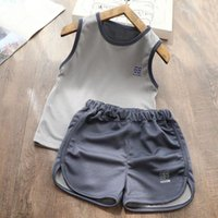 Childrens Clothing Set Summer Boy And Girls Breathable Sleeveless T-Shirt Top Kids Shorts Sports Two-piece Sets