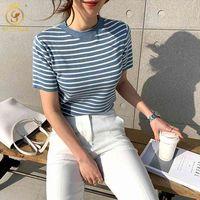 Women's T-Shirt Women Fashion Short Sleeve Striped Summer Korea Chic Female Casual Tops Clothes Z4VN