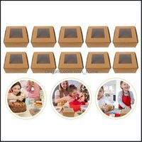 Gift Event Festive Party Supplies Home & Gardengift Wrap 10Pcs Portable Cake Packing Boxes With Window Muffin Baking Drop Delivery 2021 6Hqb