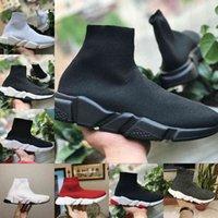 Verkaufen 2021 Speed Trainer Schwarz Rot Luxus Hohe lässige Socke Schuhe Männer Frauen Günstige Mode Paris Designer Sneakers Hohe Qualität EUR36-45 F26