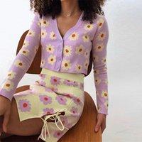 Floral de malha co-ord terno outono y2k moda v-pescoço de manga longa cardigans e bandagem mini saias conjuntos 90s e-girl doce roupas femininas tr
