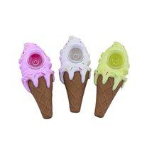 크리 에이 티브 디자인 아이스크림 콘 파이프 실리콘 담배 파이프 4 색 고무 흡연 무딘 함께 4 색 버블 러