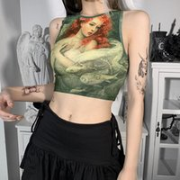 Women's Tanks & Camis Women Y2K Crop Top Summer Sleevless Knitted Vintage Oil Painting Mujer Korean Fashion Casual Ladies Cropped T Shirt