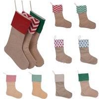 Tuval Noel çorap hediye çanta süslemeleri Noel stok büyük düz çuval bezi dekoratif çorap wll685