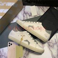 Sapato de Couro Sujo Branco Borracha Borracha Sole Solar Estrela Estrela Designer Sneaker Mulheres e Homens Lace-Up Runner Sapatos Casuais Treinador Sports