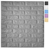 Art3D 5-Pack Peel e Stick Pannelli di carta da parati 3D per arredamento da parete interne Sfondi in schiuma di schiuma autoadesiva in grigio, copre 29 mq