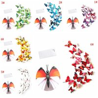 12pcs 3D Butterfly Wall Sticker PVC Simulation Stereoscopic Butterfly Mural Sticker Fridge Magnet Art Decal Kid Room Home Decor VT0446