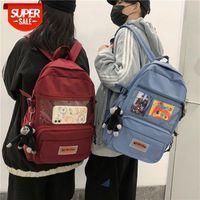 Sac à dos pour élèves de sexe masculin et féminin PVC Transparent College Style SER Version coréenne de Nylon Student Schoolbag # 8Q6Z