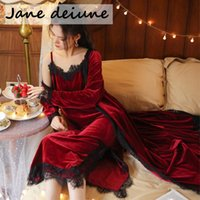 Jane Deiune Plus Size Lingerie NightGown Suit da donna Signore Satin Nightwear Nightwear Erotico Sexy Lace Babydoll Night Dress Dress Sleepwear Homewear Women's