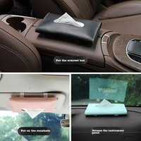 1pc Black Pink Blue Pu Leather Sun Visor Napkin Box Holder Hanging Car Mask Shading Home Storage Tissue Boxes #5 & Napkins