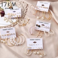 17KM Vintage Pearl Earrings stud For Women Big Gold Cross Set of Earring Long Tassel Butterfly Dangle Drop 2021 Jewelry