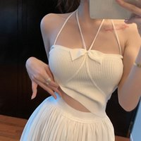 Women's Tanks & Camis Women Halter Knitted Bow Tie Sexy Camisole Tank Tops Summer Silm Basic Vest