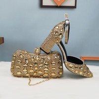 Обувь платье Baoyafang Летние женские Шампанское Партии Сандалии Кошелек Свадьба Женщина Женщина Женщина Заостренный Ной