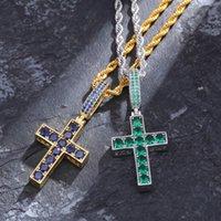 Çift Renk Mavi-Yeşil Zirkon Çapraz Kolye Her İki Tarafında İsa Kişilik Giyebilir Kolye Takı