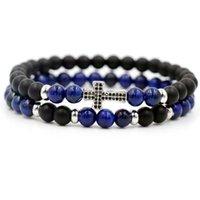 2pcs / 세트 블루 Lapis Lazuli 돌 스트랜드 팔찌 남자 인레이 지르콘 크로스 여성 커플을위한 에너지 매력 팔찌 사랑 선물을 사랑합니다 선물 페르시, 가닥