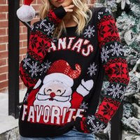 Women's Sweaters Christmas Ugly Sweater Autumn Winter Ladies O-Neck Long Sleeve Santa Sequin Knitted Shirts