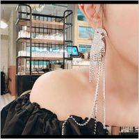 Drop Dostawa 2021 Parrot Fringe Dangle Kolczyki Cyrkon Kryształ Diamentowy Żyrandol Kolczyki S925 Sier Nazwy Długi Super Błyskotliwy Biżuteria Exagg