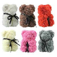 Roses Teddy Bear Artificial Soap Flowers to Mothers Gift Girlfriend Anniversary Christmas Valentine's Day Birthday Present For Party GWA7453