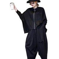 Women's Tracksuits 2021 Coat And Pants Two Piece Set Women Autumn Plus Size Black Full Length Pant & Suit Sets 2 Outfit LT474S50